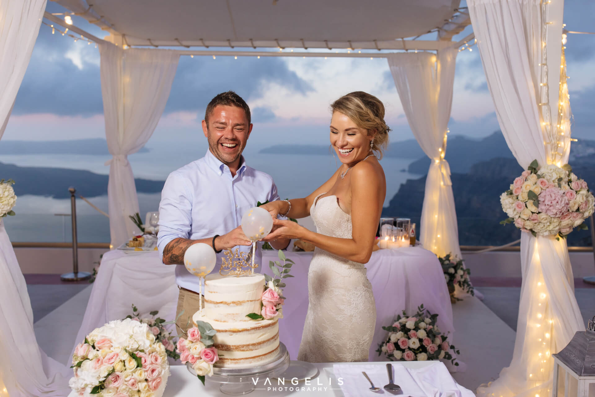 Ceremony and Reception - Wedding Terrace - Santorini Gem